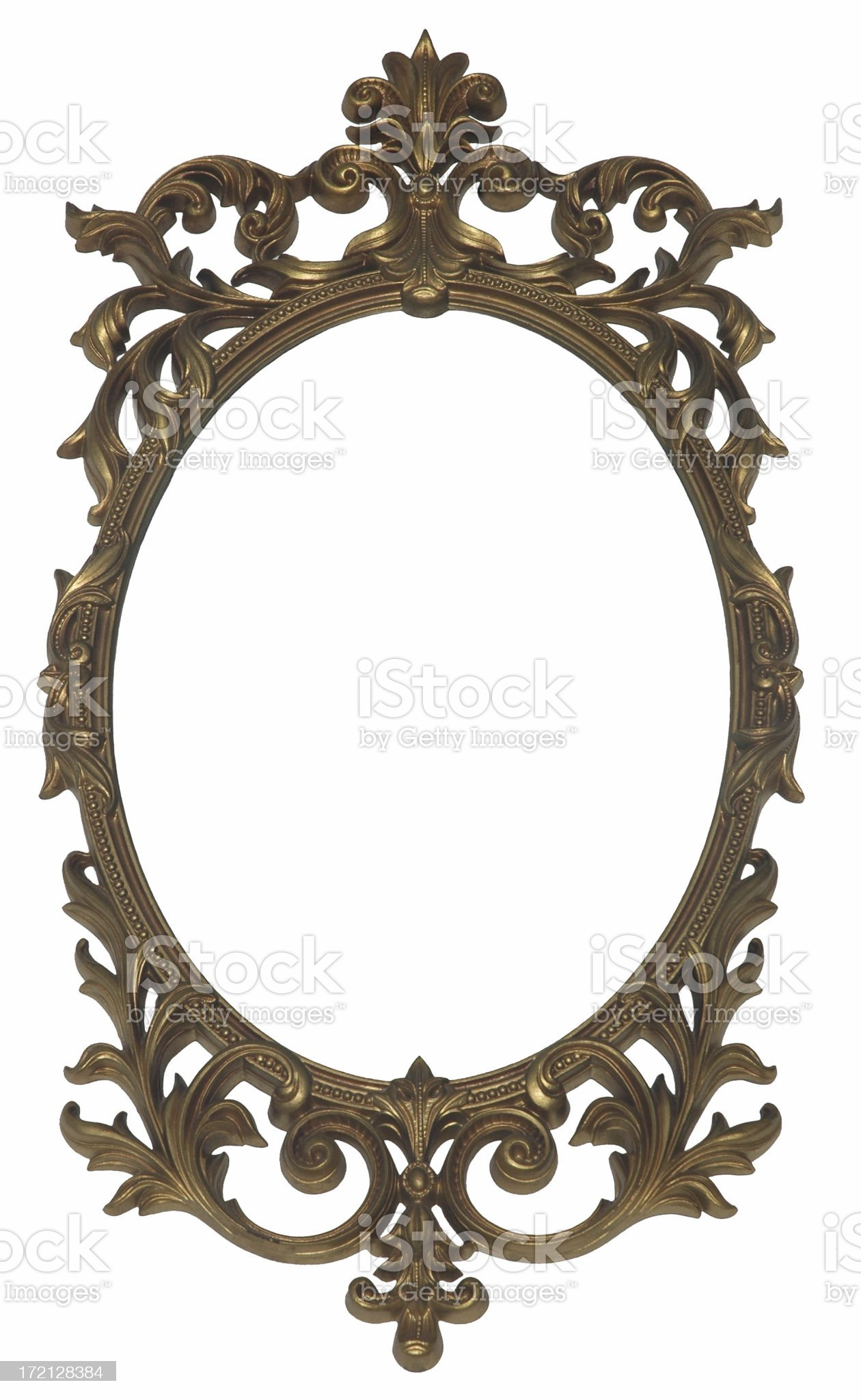 Gold Oval Picture Frame royalty-free stock photo