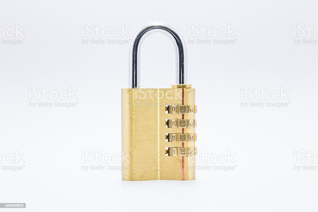Gold padlock lock with password for security on isolated background stock photo