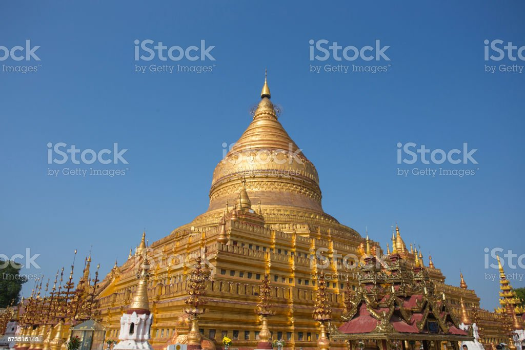 Gold Pagoda in Burma stock photo