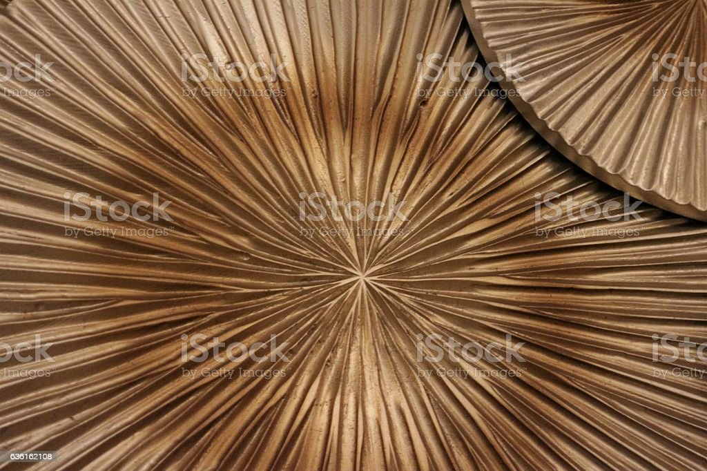 Gold Painted Decorative Disks Close Up stock photo