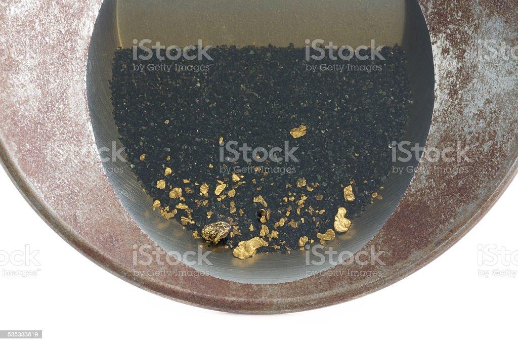 gold-Pfanne mit natürlichen viel Waschgold Lizenzfreies stock-foto