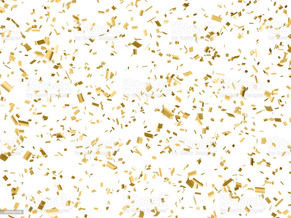 Gold Paper Confetti Falling Isolated on White stock photo