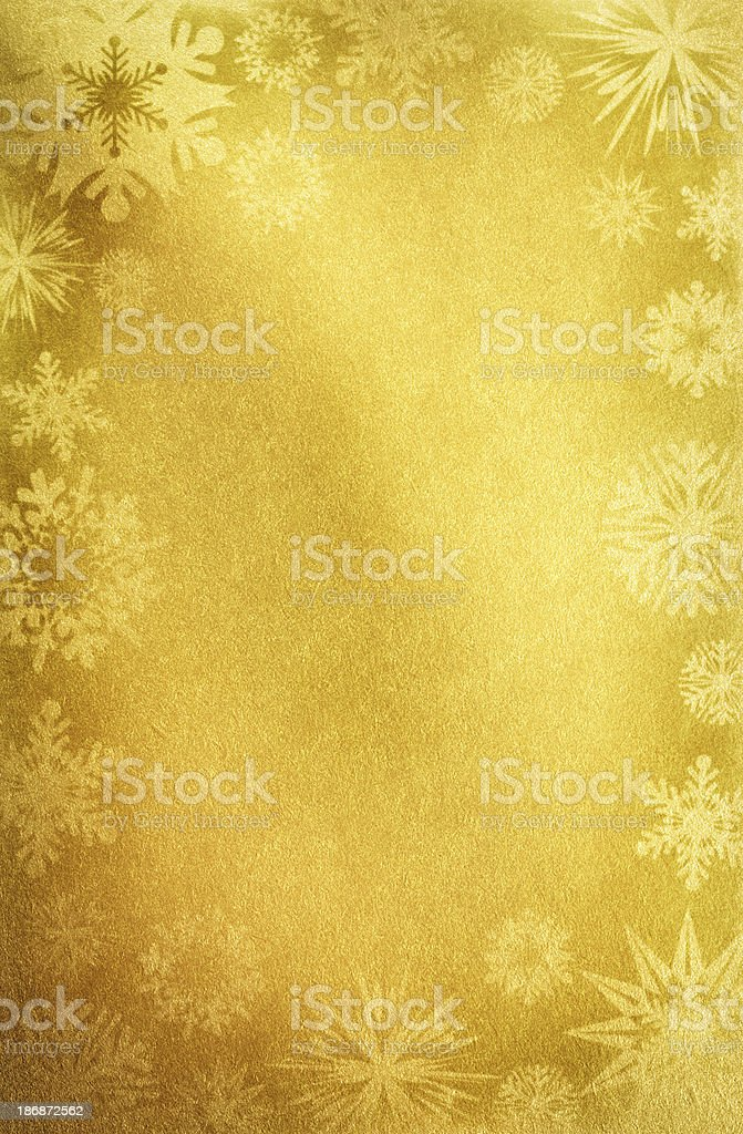 Gold Paper With Snowflakes stock photo