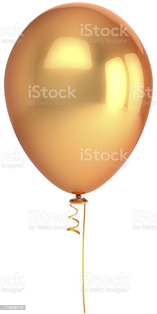 Gold party balloon blank Happy Birthday decoration stock photo