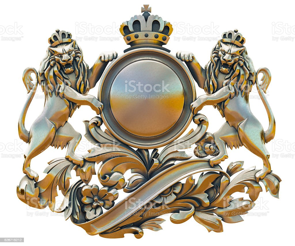 Gold patina old coat of arms with lions stock photo