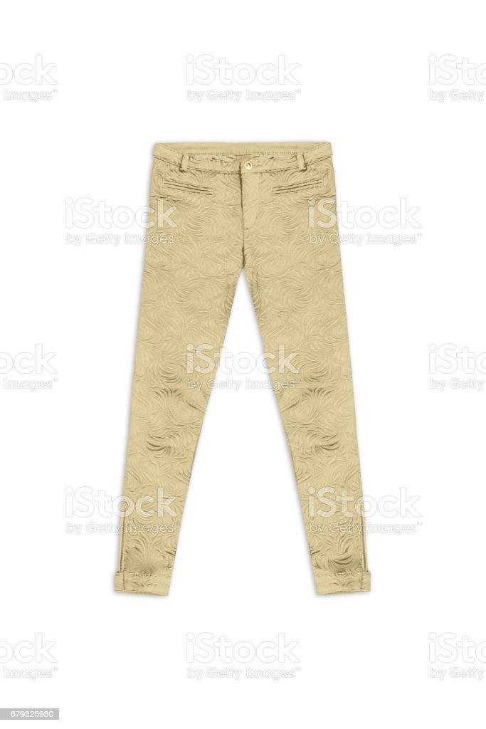 gold pattern jacquard pants, isolated on white background stock photo