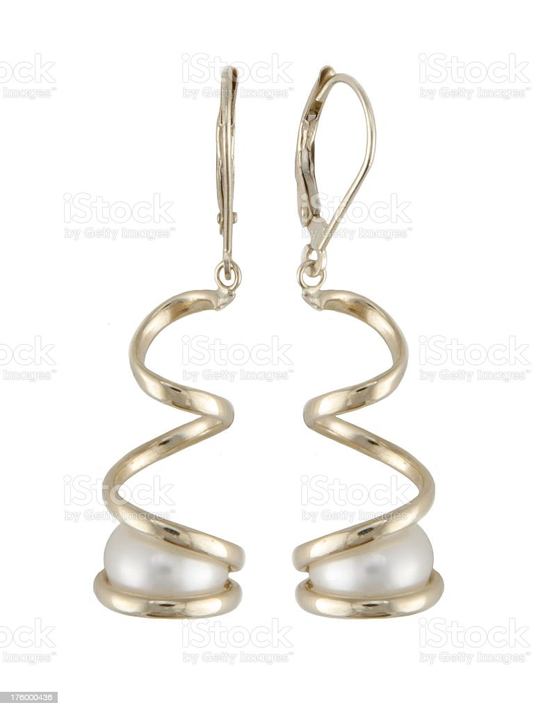Gold Pearl Earings royalty-free stock photo