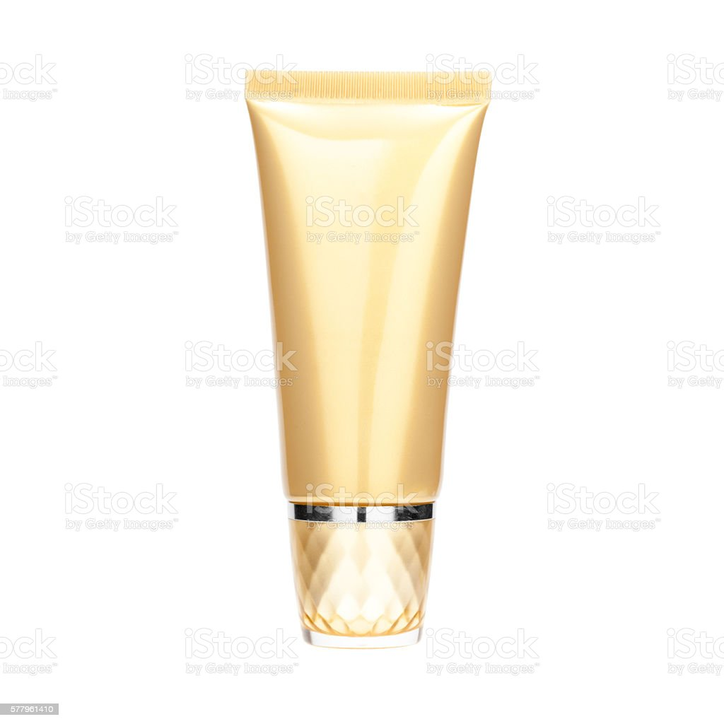 Gold pearliest tube mockup template for cosmetic cream stock photo