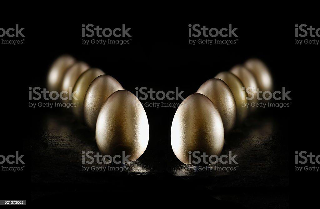 Gold Pension Eggs II stock photo