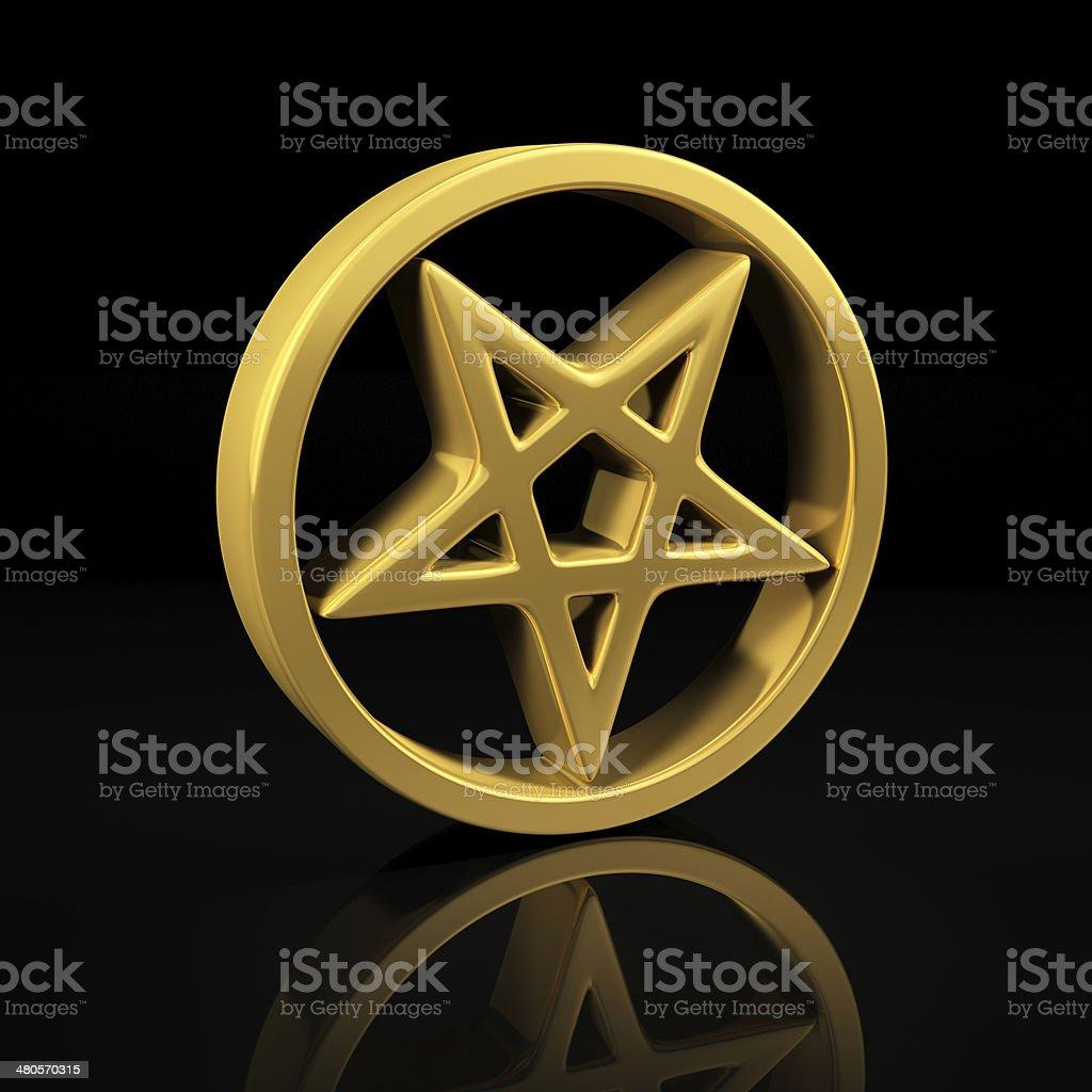 Gold pentagram on black stock photo