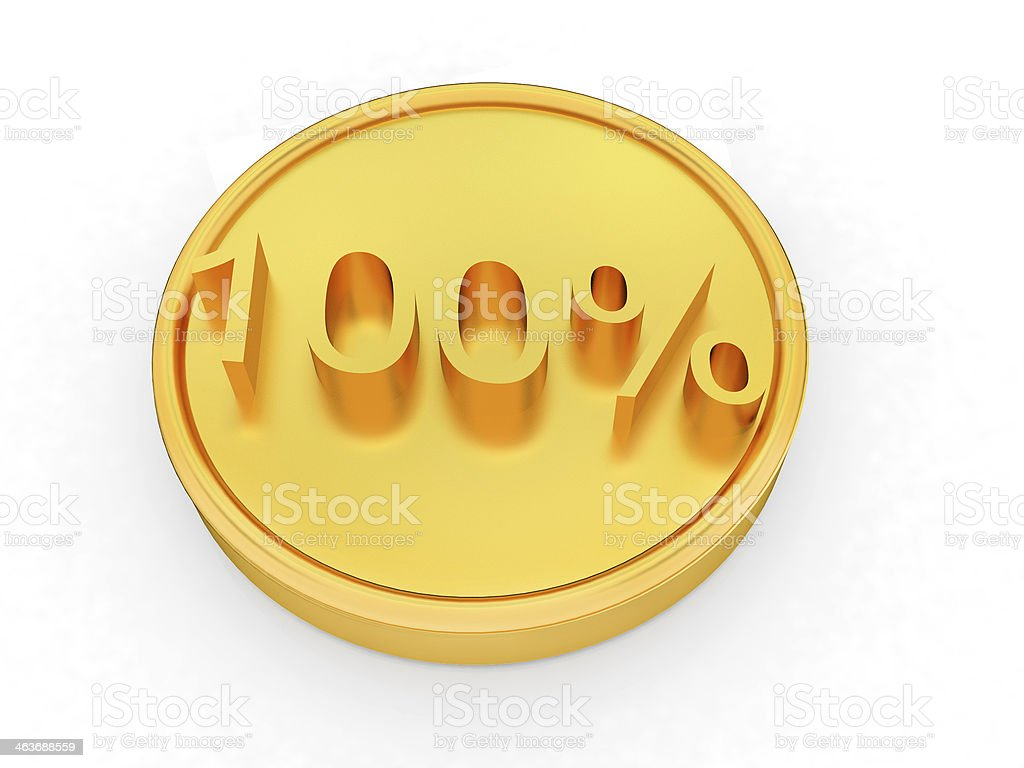 Gold percent coin 100 stock photo