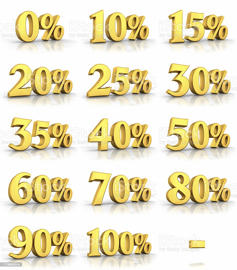 Gold Percent Tags stock photo