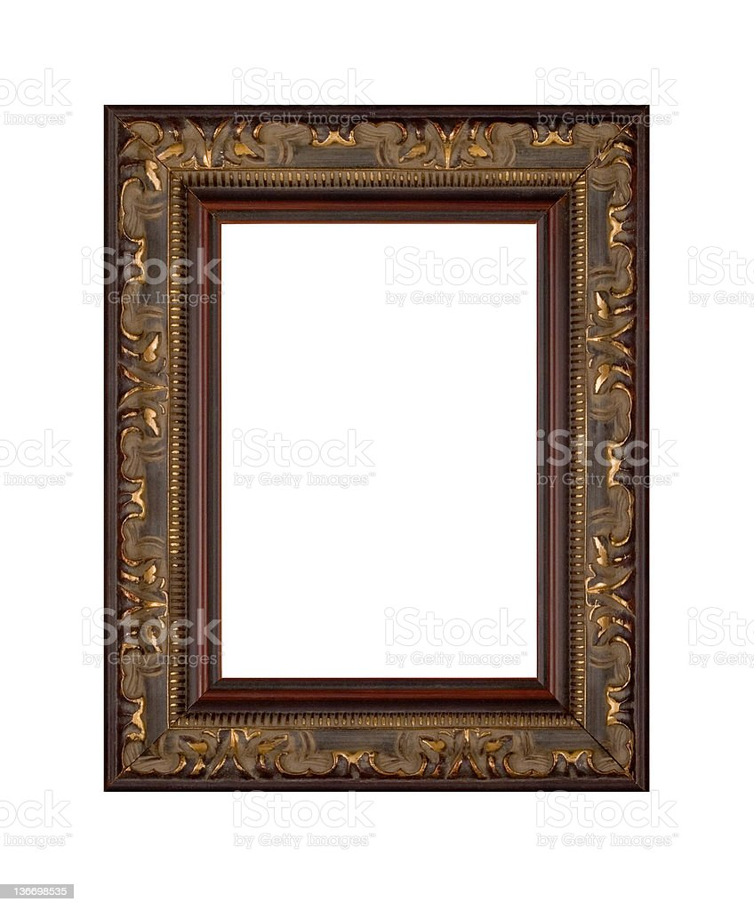 Gold Picture Frame, Antique and Ornate, White Isolated royalty-free stock photo