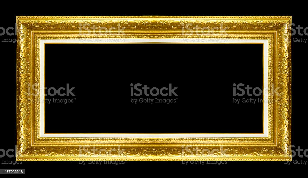 gold picture frame. Isolated on white background stock photo