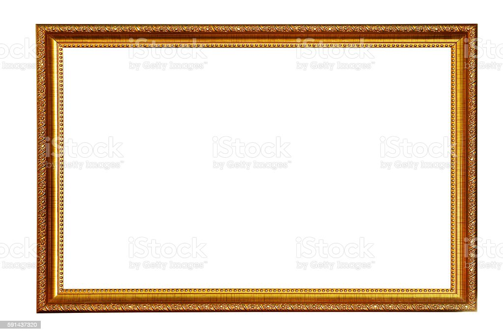 Gold picture frame Isolated on white background stock photo
