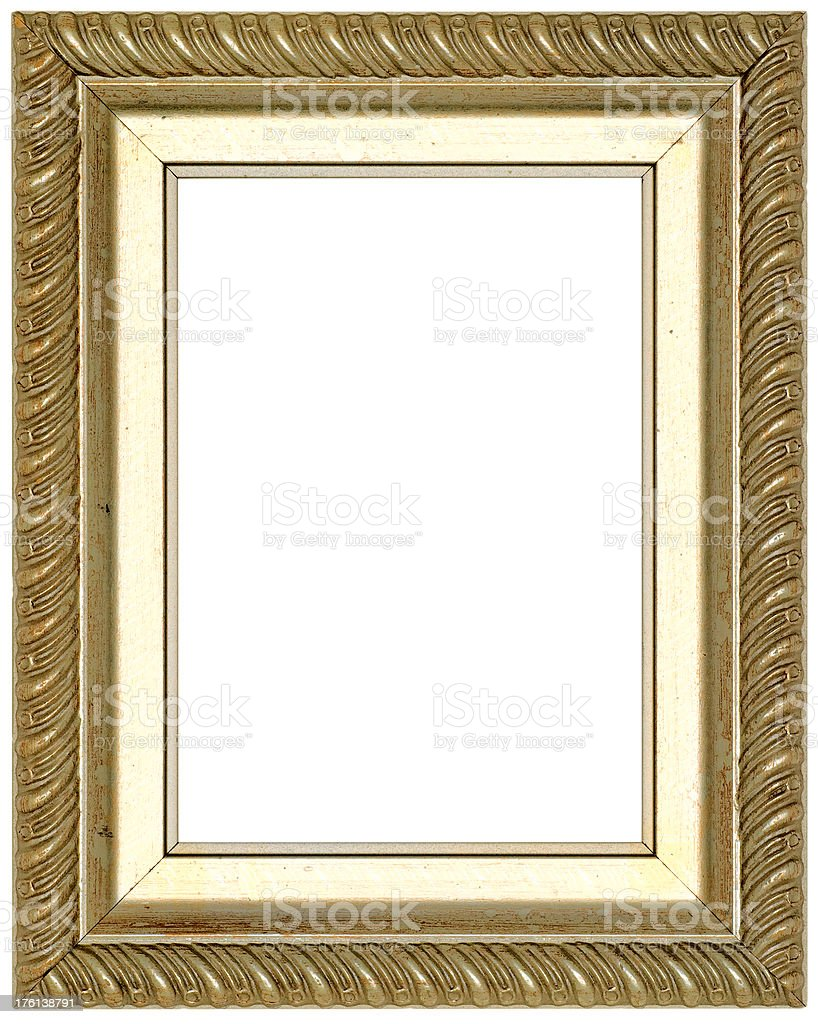 Gold Picture Frame. Isolated on White with Clipping Path royalty-free stock photo