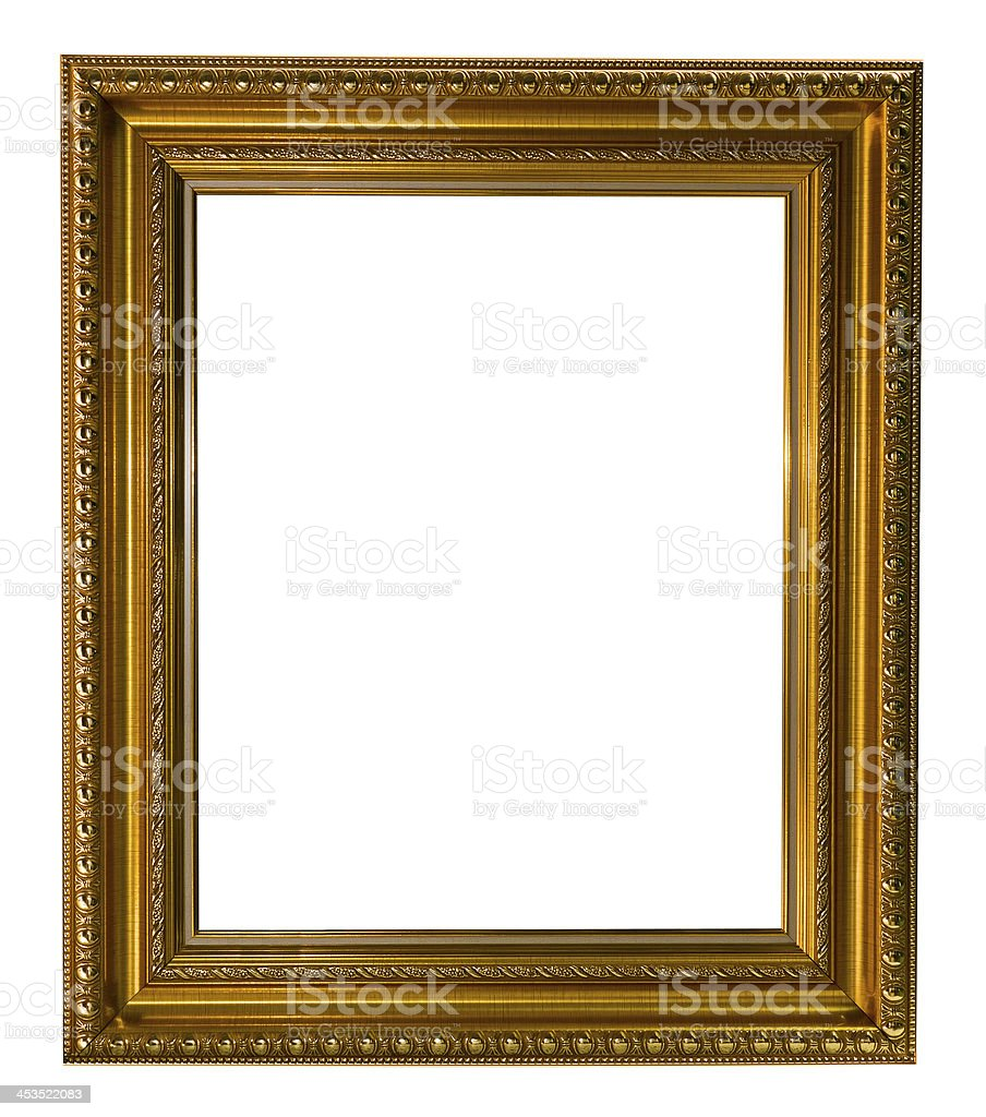 Gold picture frame isolated royalty-free stock photo