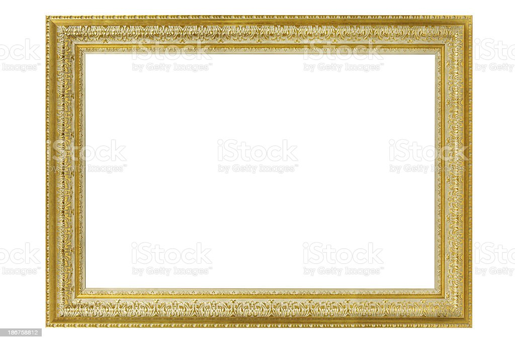 Gold picture frame on white background. royalty-free stock photo
