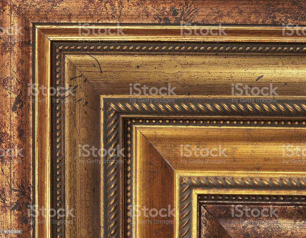 Gold picture frame samples stock photo