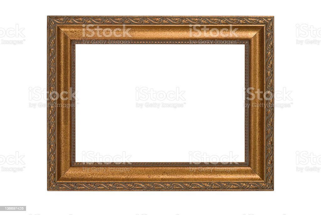 Gold Picture Frame, White Isolated, Dull Matte Finish royalty-free stock photo
