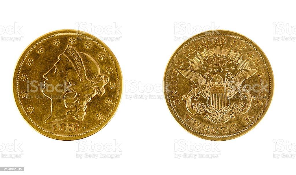 1876 $20 Gold stock photo