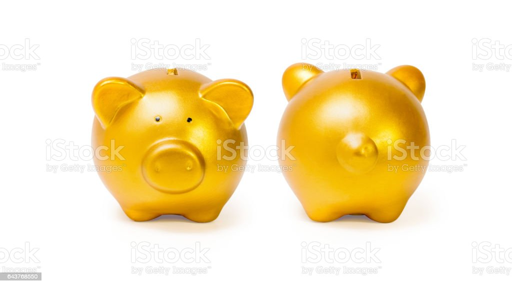 gold piggy bank isolated on white background stock photo