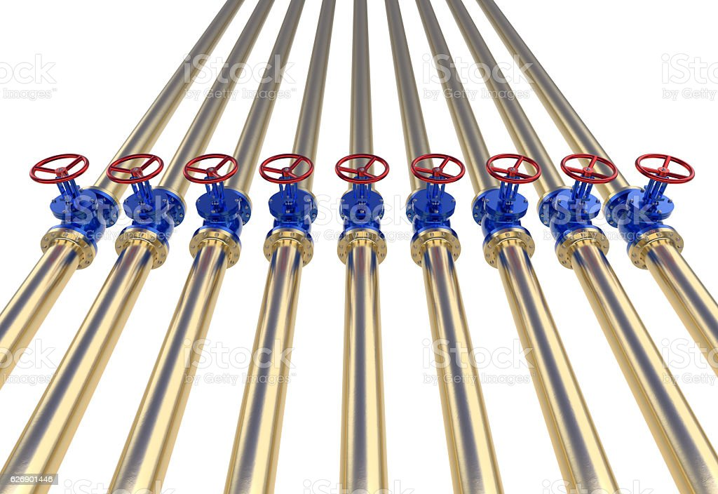 Gold pipe lines with Valve 3d illustration stock photo