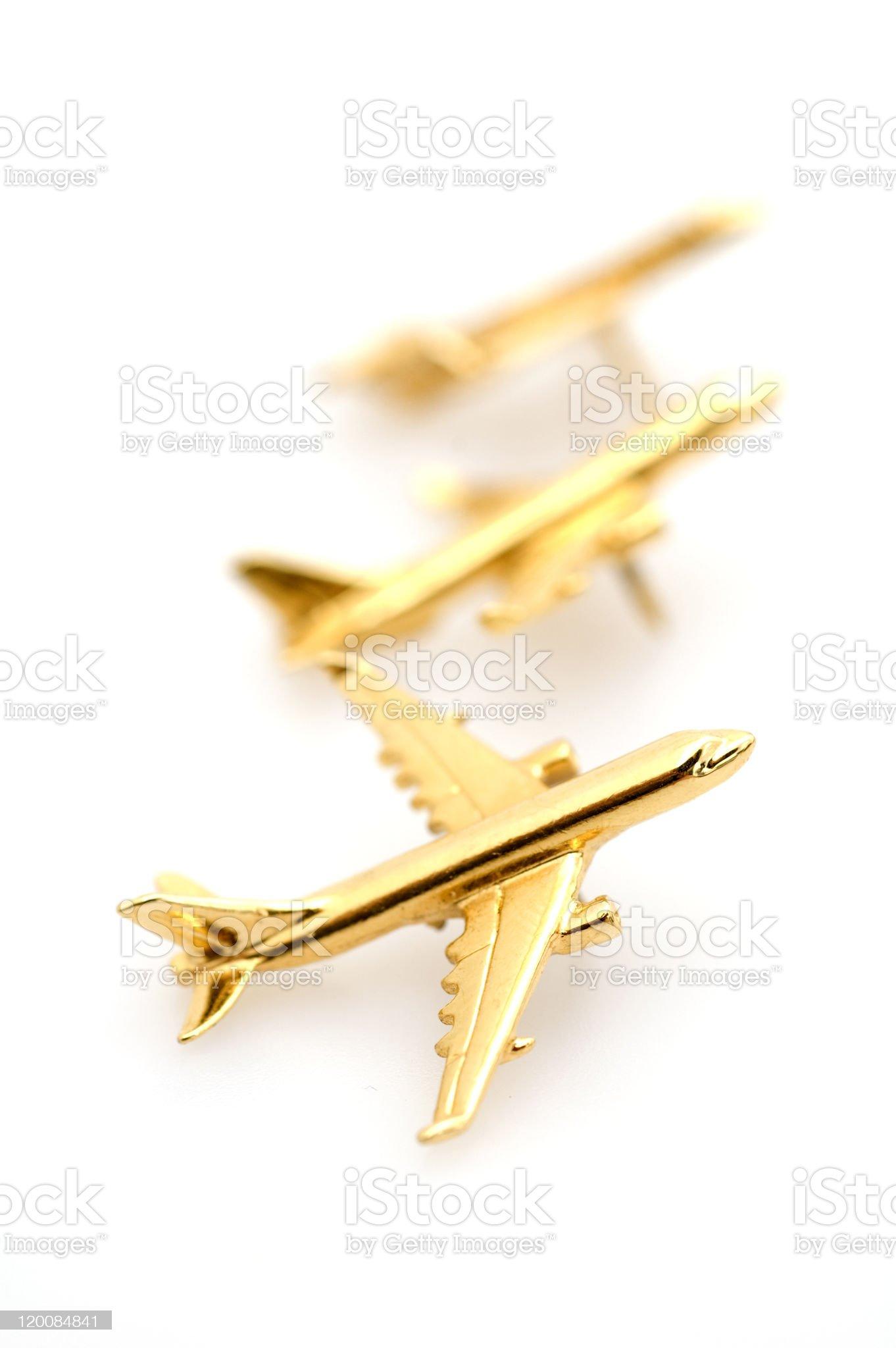Gold Plane on White Background. royalty-free stock photo