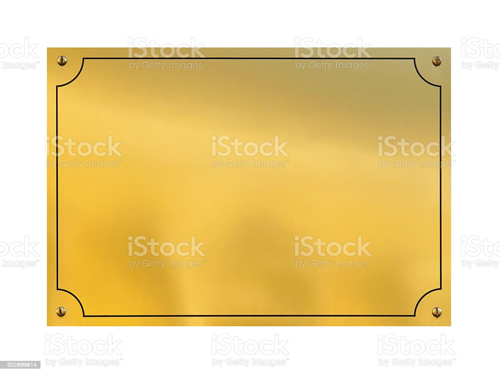 Gold plaque stock photo