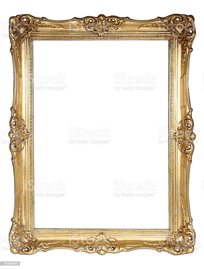 Gold plated wooden frame with clipping path royalty-free stock photo