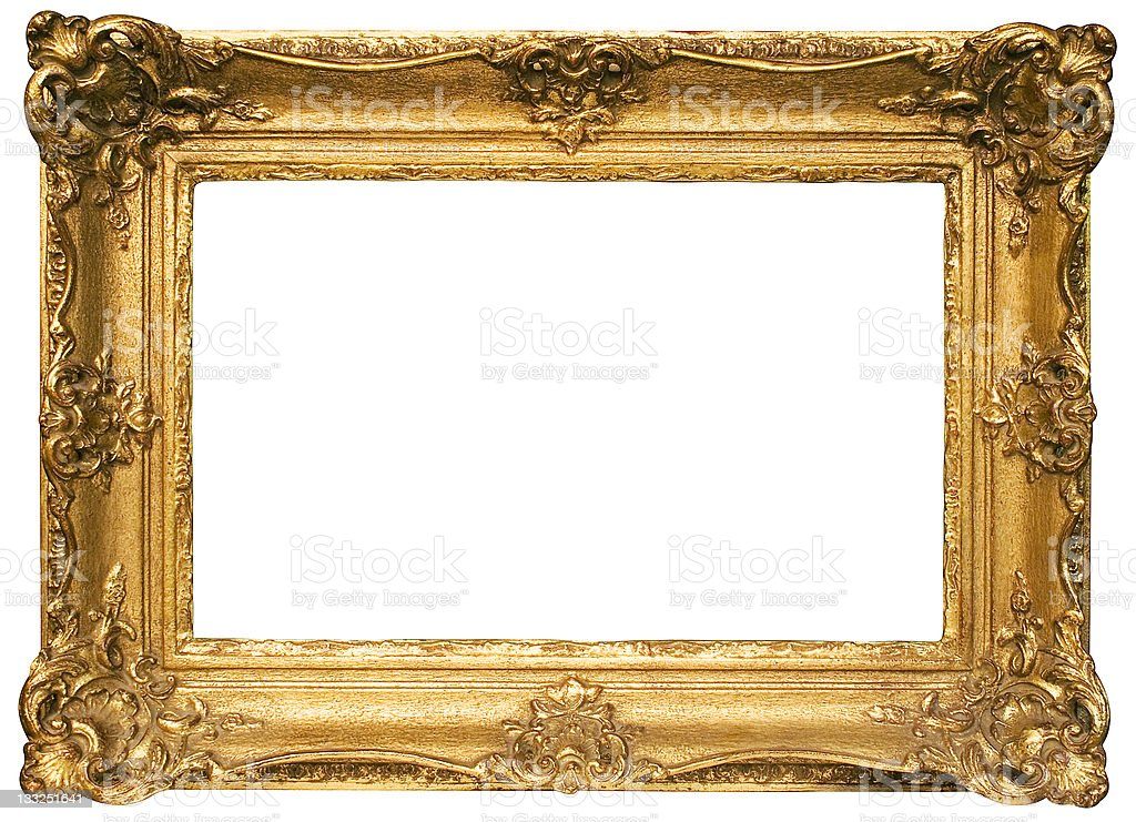 Gold Plated Wooden Picture Frame w/ Path (Wide) stock photo