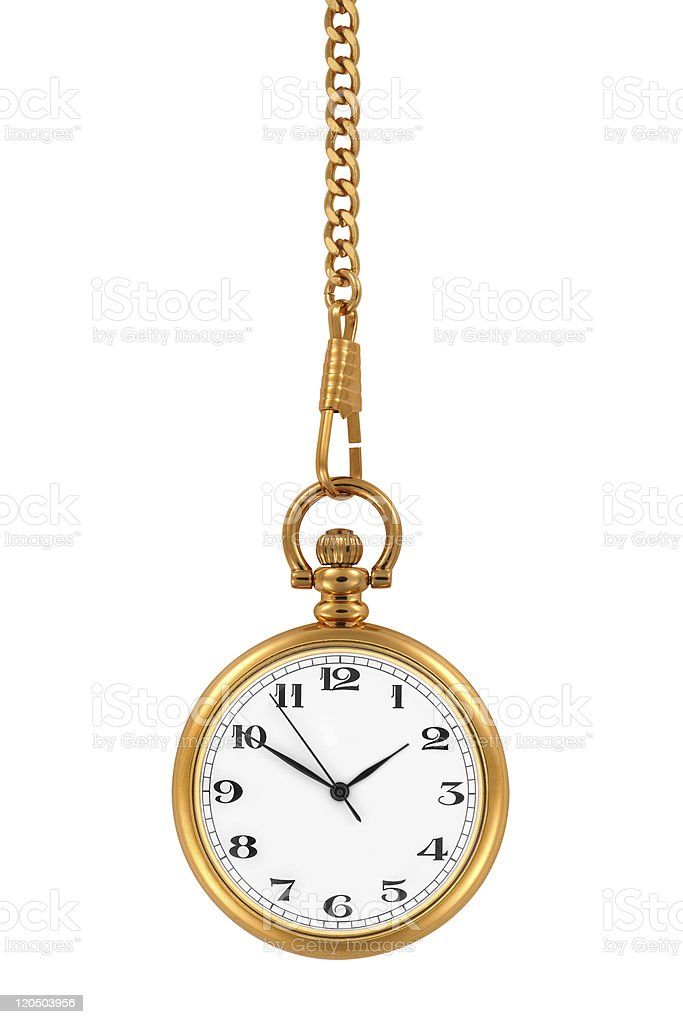 A gold pocket watch at time 150 hanging down stock photo