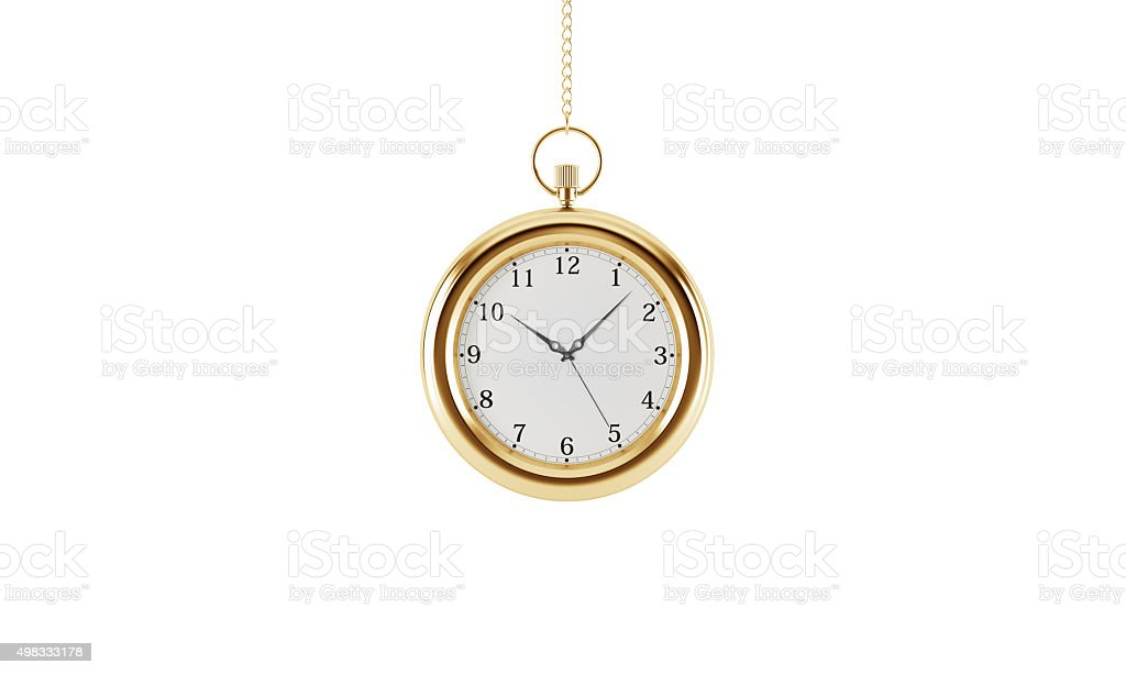 Gold pocket watch. Isolated on white background. 3D rendering. stock photo