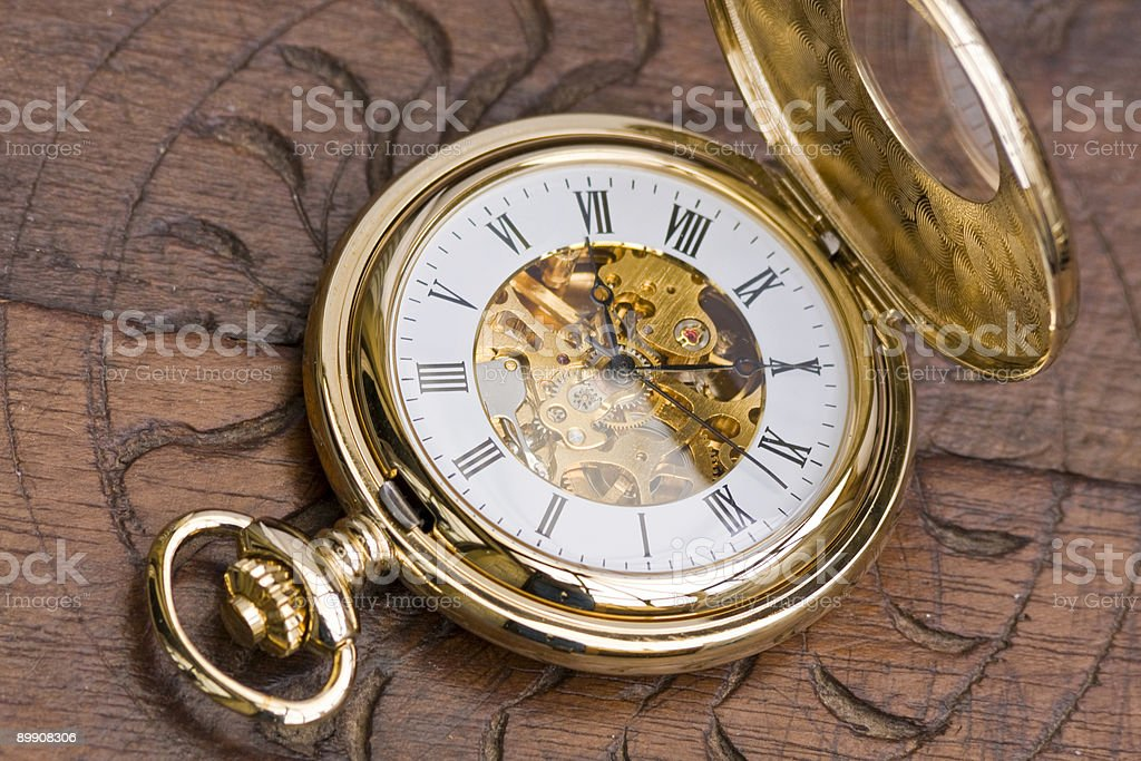 Gold pocket watch royalty-free stock photo