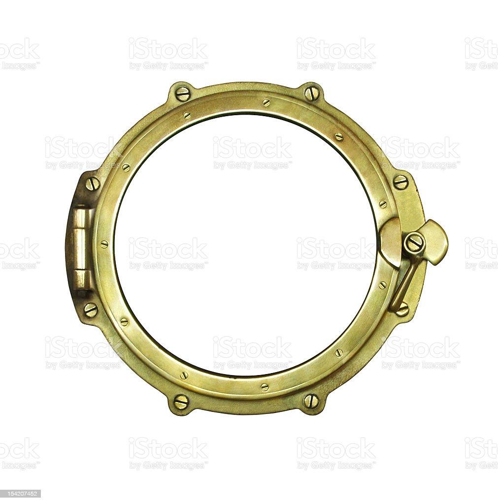 Gold porthole isolated on white background stock photo