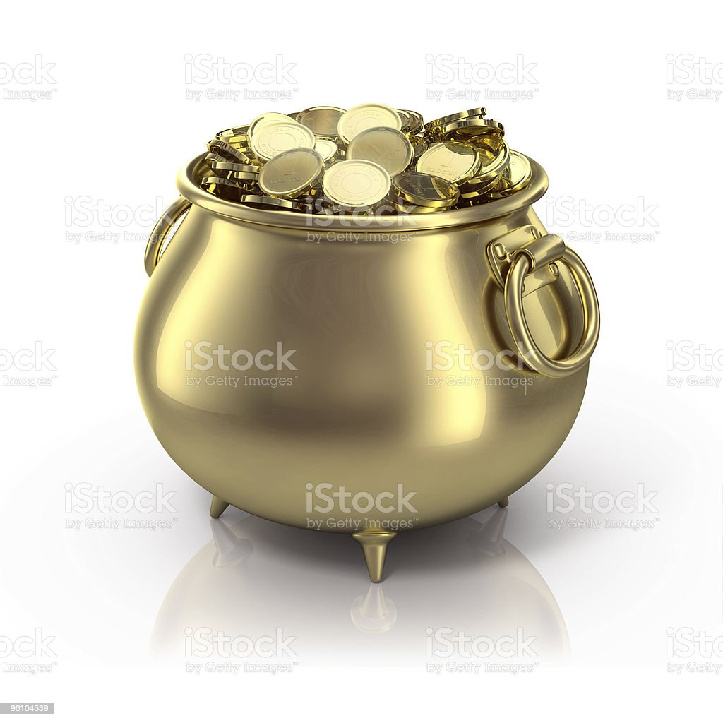 Gold pot with gold coins on a white background stock photo