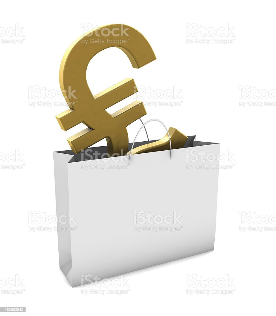 Gold Pound in Shopping Bag stock photo