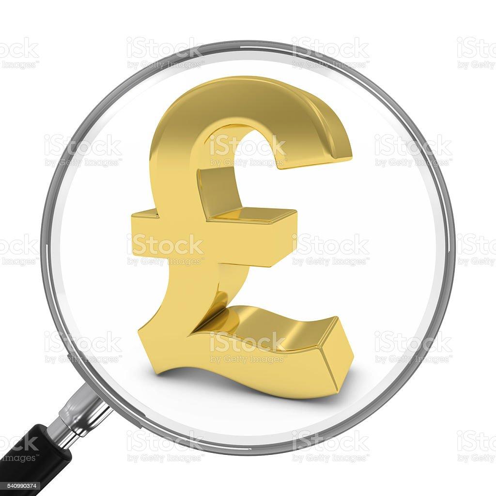Gold Pound Symbol Under Magnifying Glass - 3D Illustration stock photo