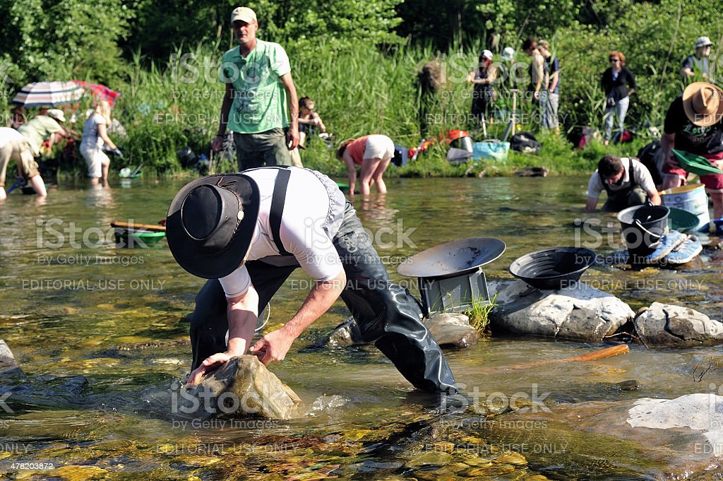Gold prospectors in full competition stock photo
