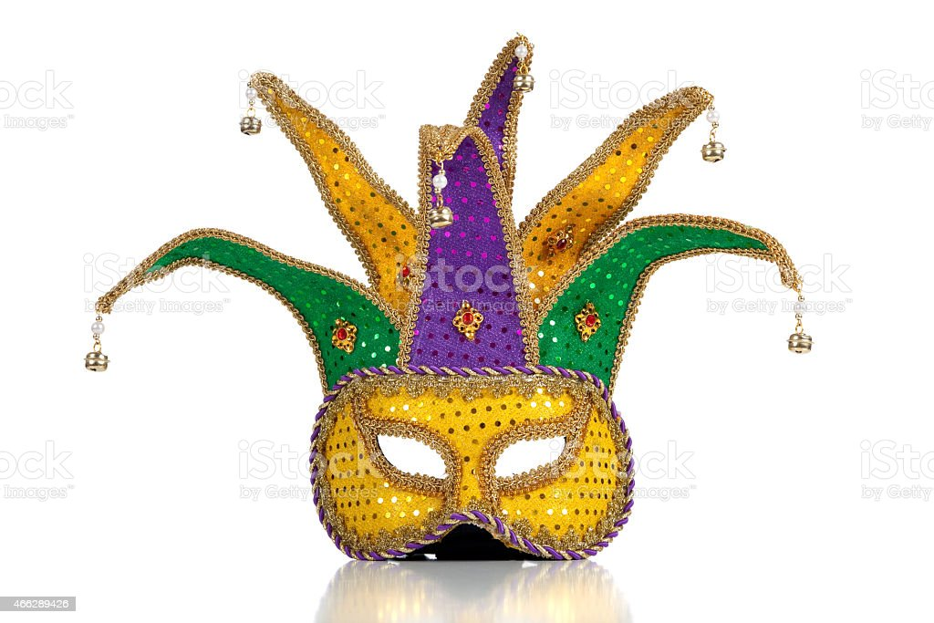 Gold, purple and green mardi gras mask stock photo