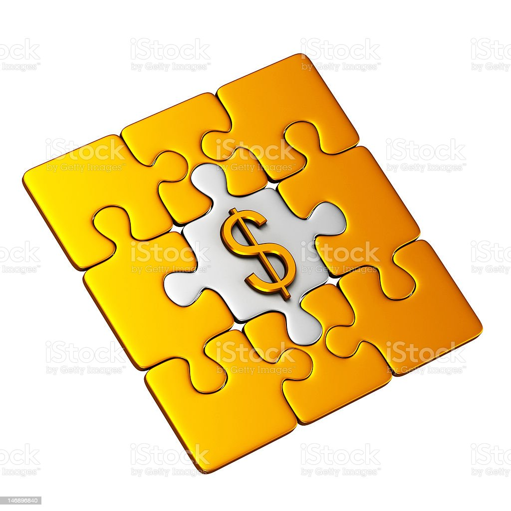 Gold Puzzle with Dollar Sign royalty-free stock photo