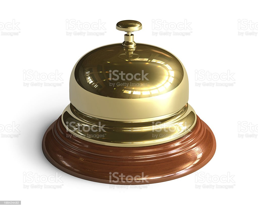 A gold reception bell waiting to be rung stock photo