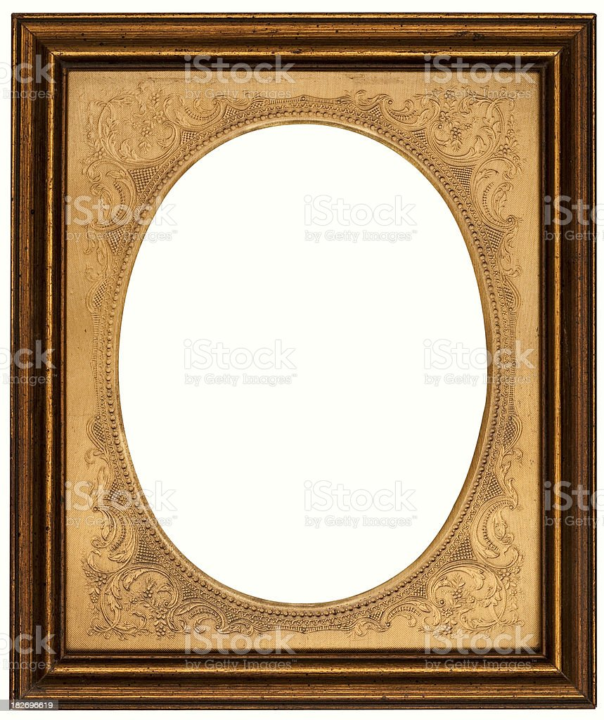 Gold Rectangular Oval Picture Frame. Isolated with Clipping Path royalty-free stock photo