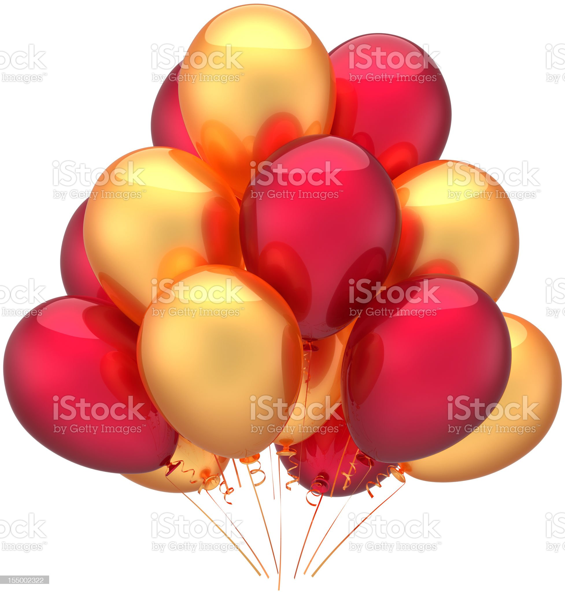 Gold red party balloons beautiful happy birthday decoration royalty-free stock vector art