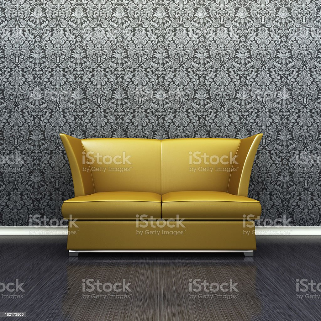 Gold Retro Sofa in lounge room royalty-free stock photo