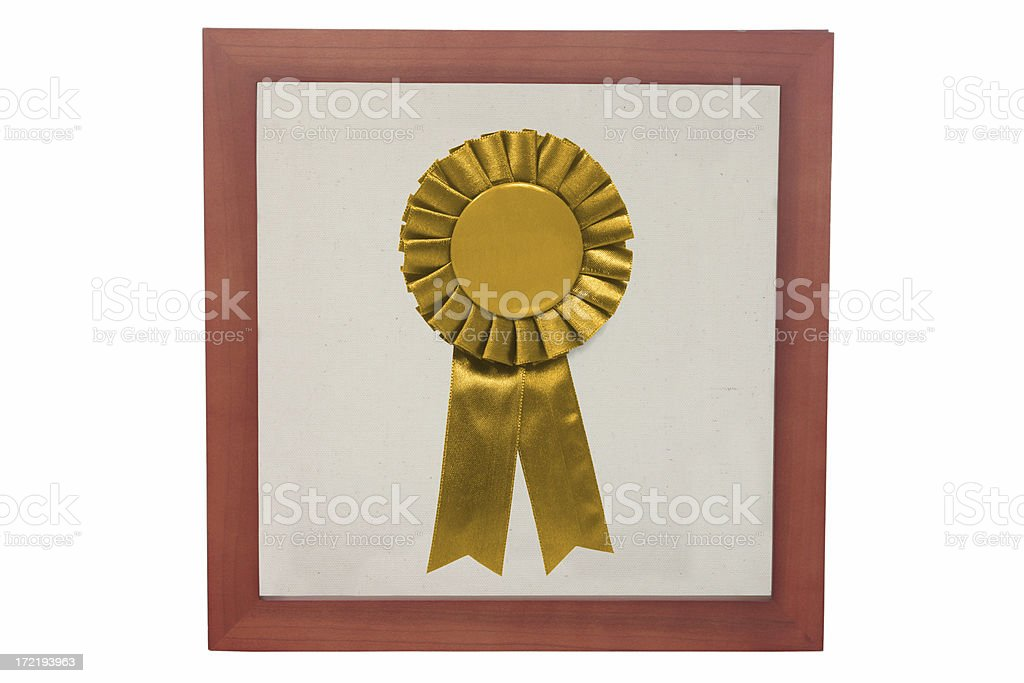 Gold ribbon in a frame royalty-free stock photo