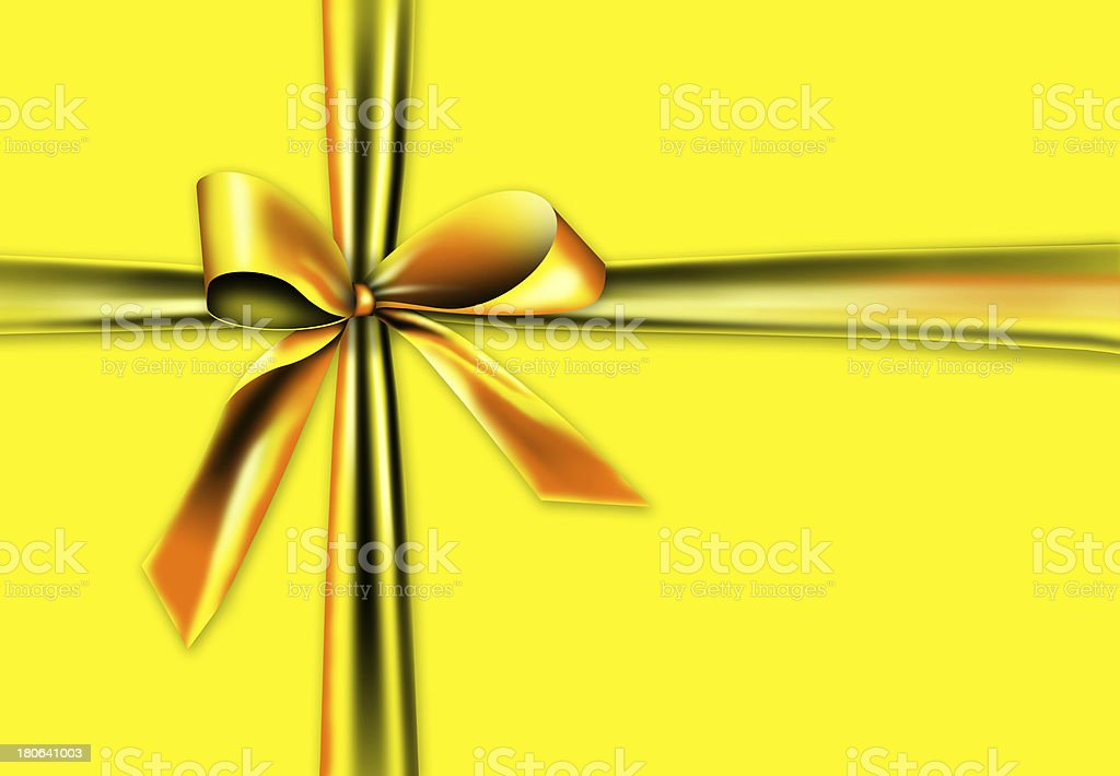 Gold ribbon on a yellow background royalty-free stock photo