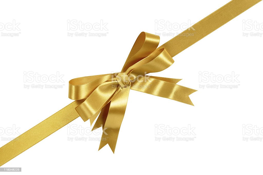 Gold ribbon with curly tails stock photo