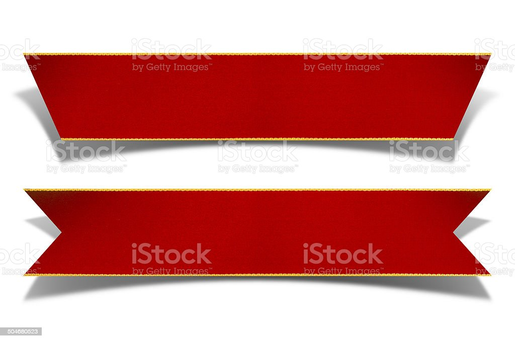 Gold Rimmed Red Ribbon Banner with clipping path stock photo