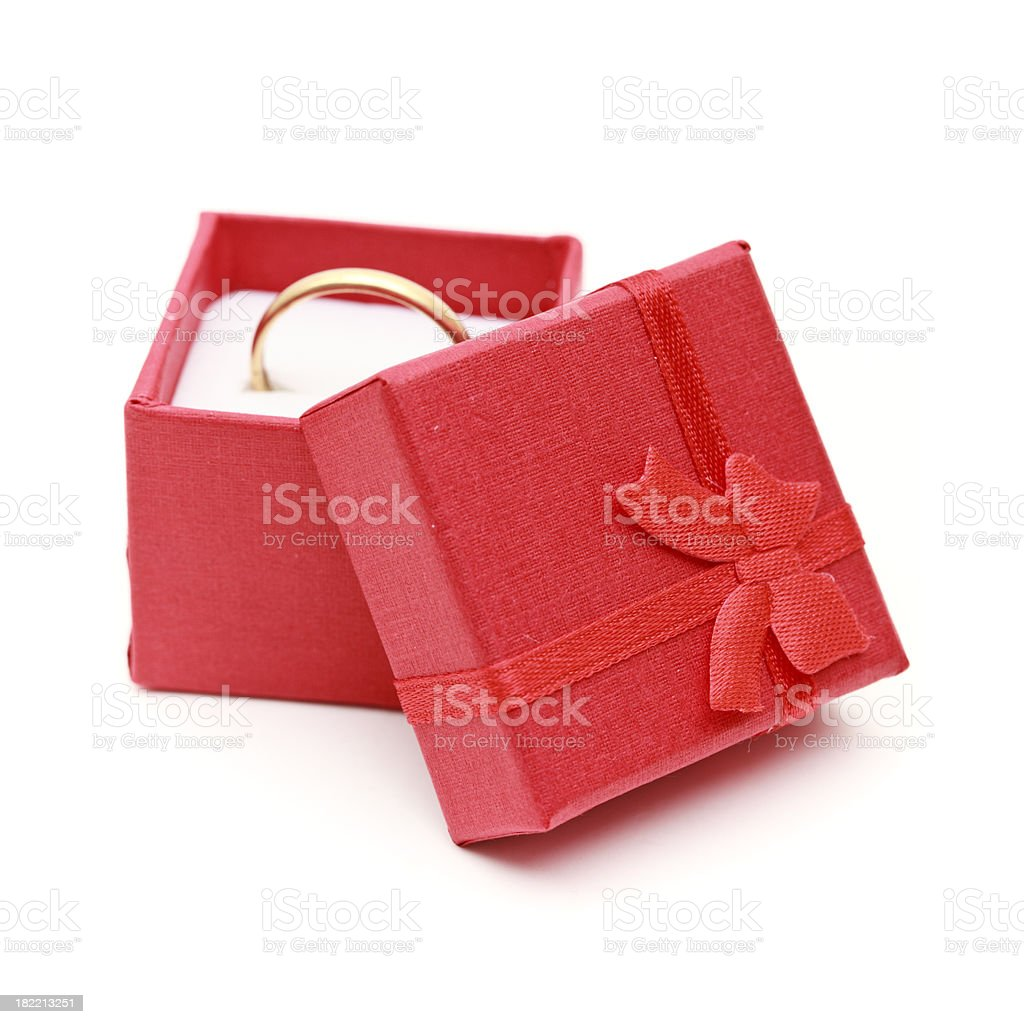 gold ring in a red box royalty-free stock photo
